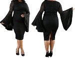 Ladies Women PLUS SIZE Sexy Long Lace Look Flare Sleeve Back Zipper Knee Length Bodycon Evening Cocktail Dress